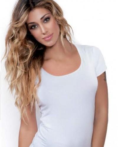 T-shirt mezza manica scollata cotone modal Jadea